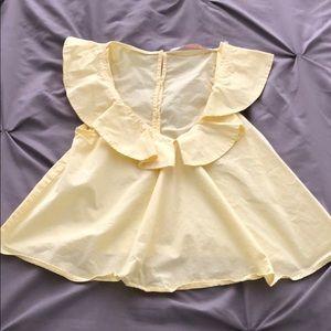 Yellow ruffle sleeve top